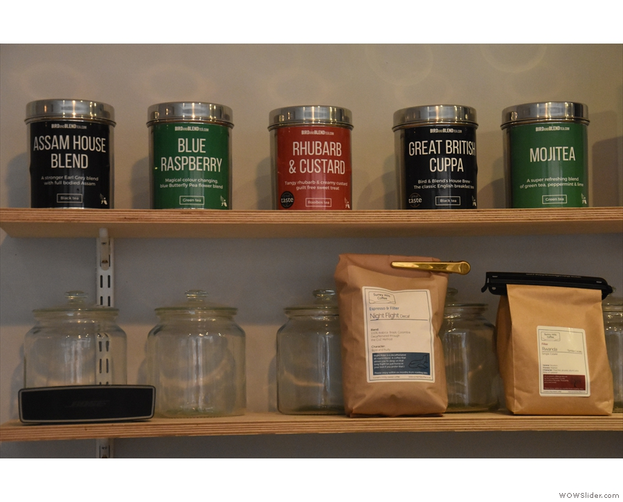 ... where you'll also find the current single-origin filter and a range of teas.