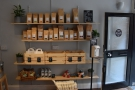 On the way in, you pass the old retail shelves. As well as bags of Surrey Hills Coffee...