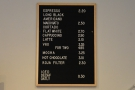 ... and the drinks menu on the wall behind the espresso machine...