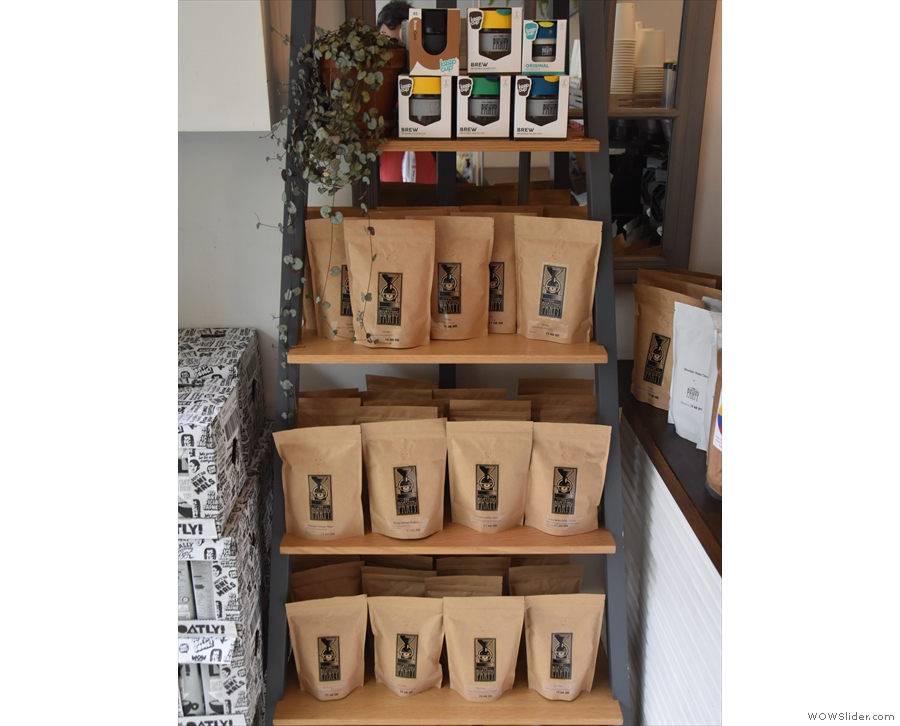 ... retail area is on the other side of the counter, with a range of blends and single-origins.