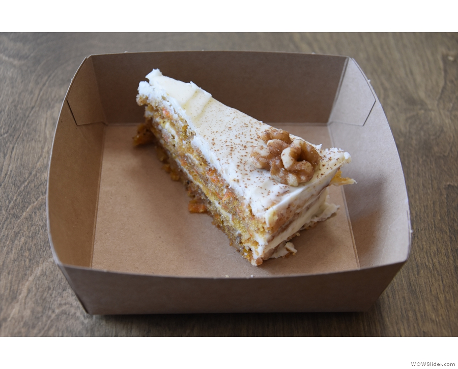 I also had the last slice of the carrot cake, served on a disposable, cardboard plate.