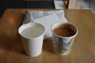 I had a Greek coffee, served in a takeaway cup...