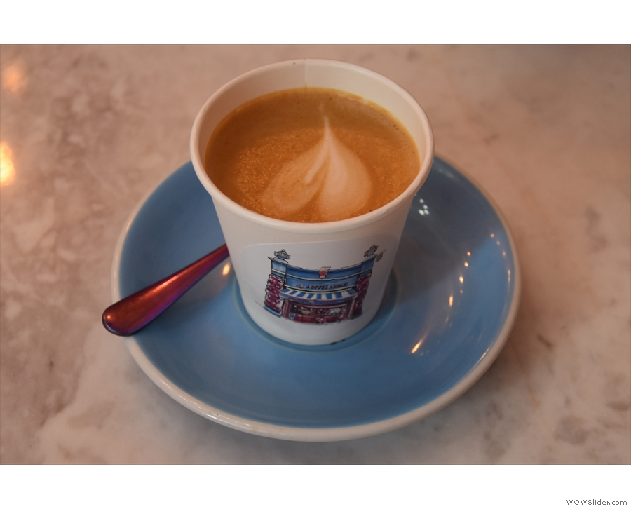 Back to this year and I had a cortado, served on a proper saucer...
