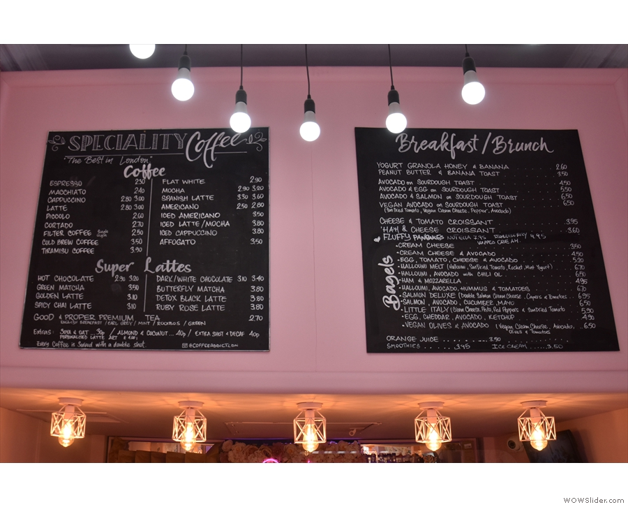 The menus remain on the wall above the counter, although Coffee Addict has expanded...