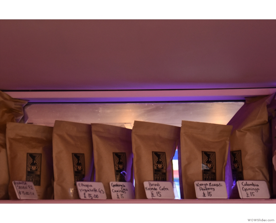 The retail bags of Roasting Party coffee, meanwhile, are relegated to the back wall.