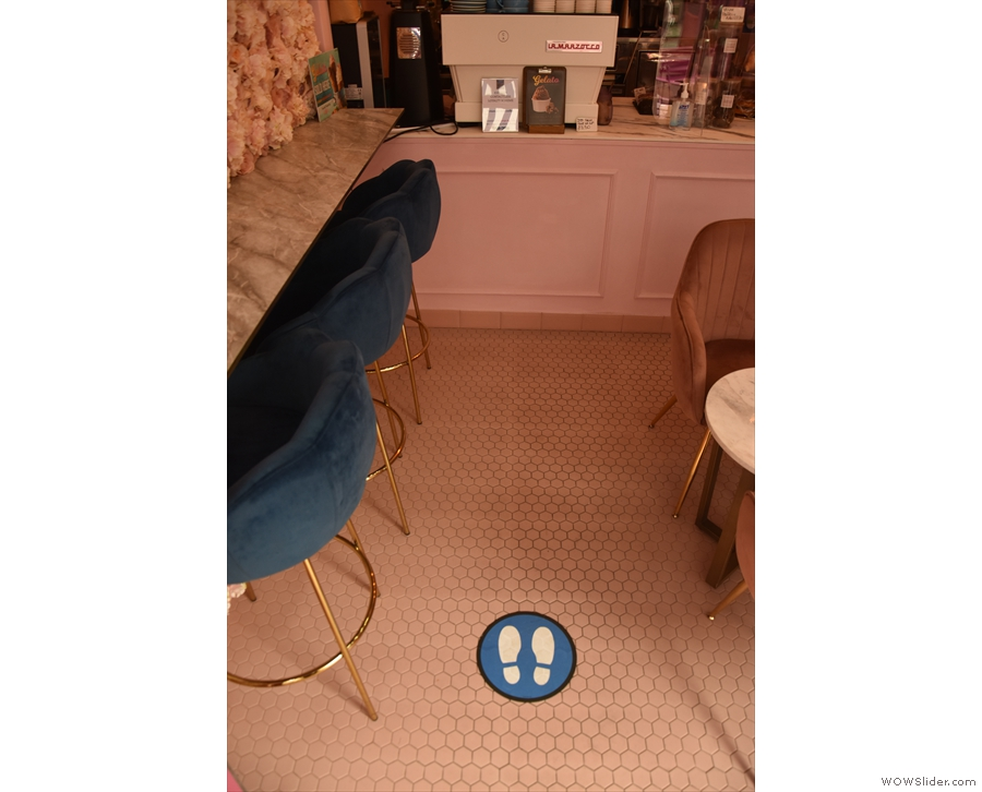 ... marked out on the floor. You go up to the counter on the left-hand side...