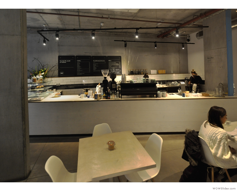 The counter, as seen from the seating at the back.