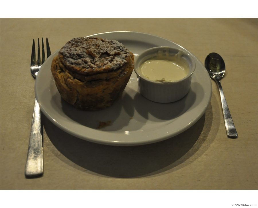 The apple and blackberry pie looked so good, I had to have one. It came with cream too!