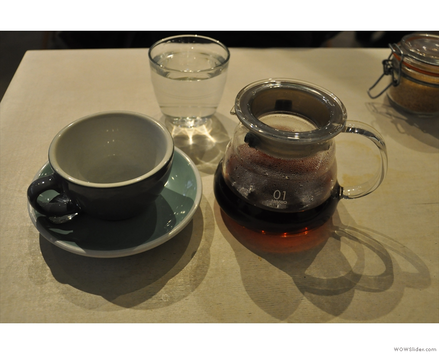 I paired this with a V60 of the Peruvian from Yallah Coffee, served properly, in a carafe.