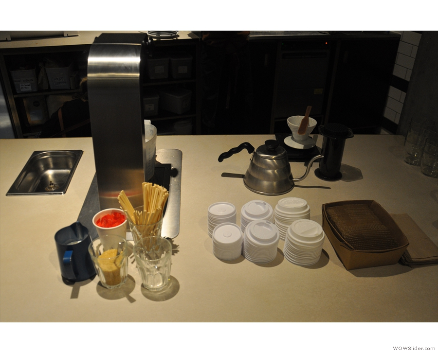 The brew bar also doubles as the take-away station.