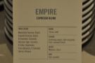 Meanwhile, the Empire Blend from Ozone is on espresso.