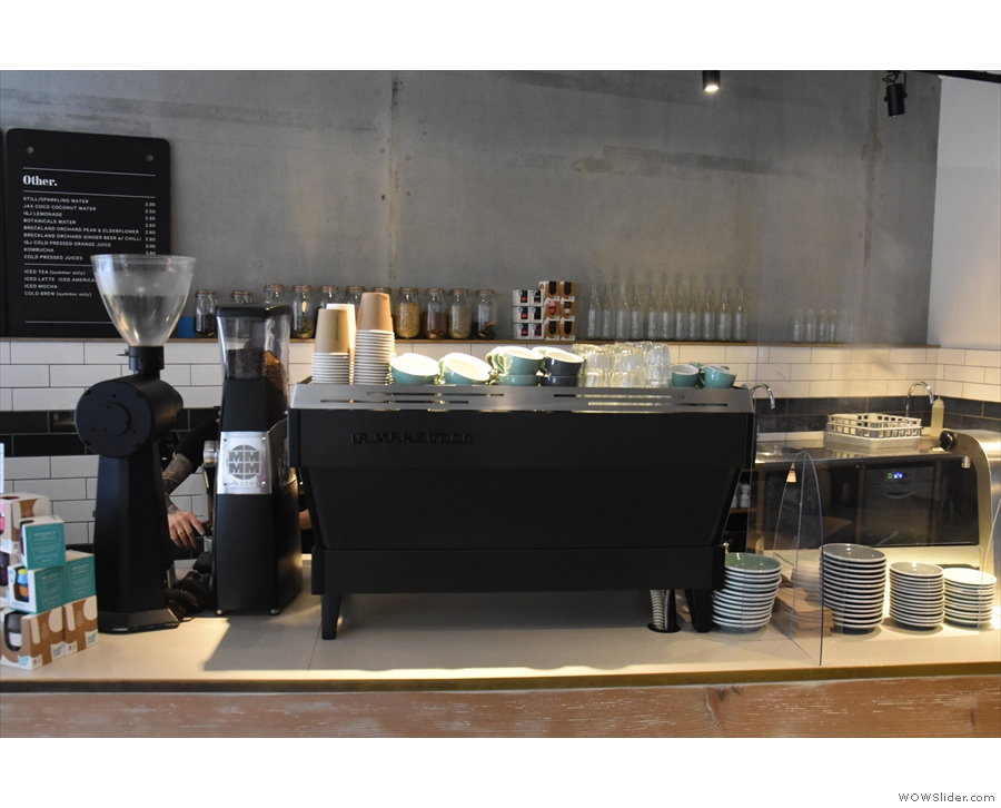 The only change of note is that the La Marzocco Strada has been replaced by a Linea.