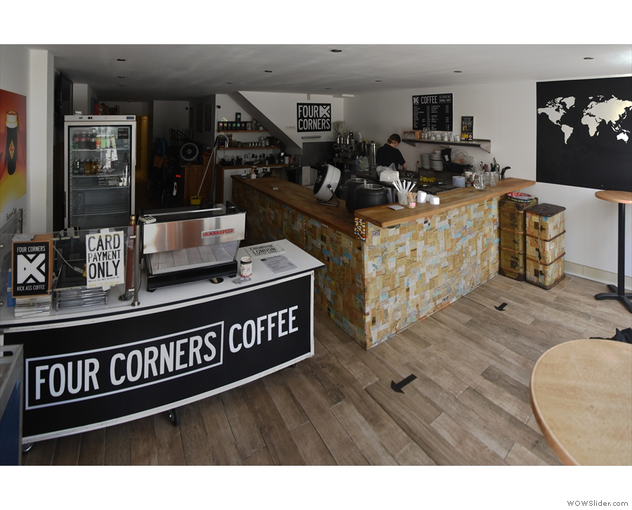 To put it into context, the new counter is blocking off the back of the coffee shop...