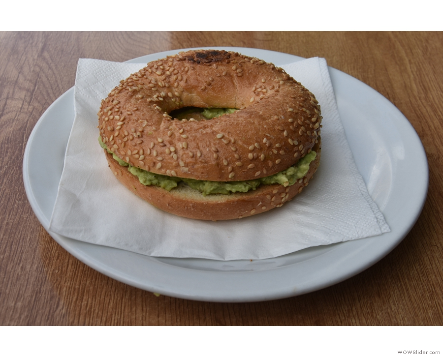 I was there for lunch, so had the avocado bagel, which I paired with...