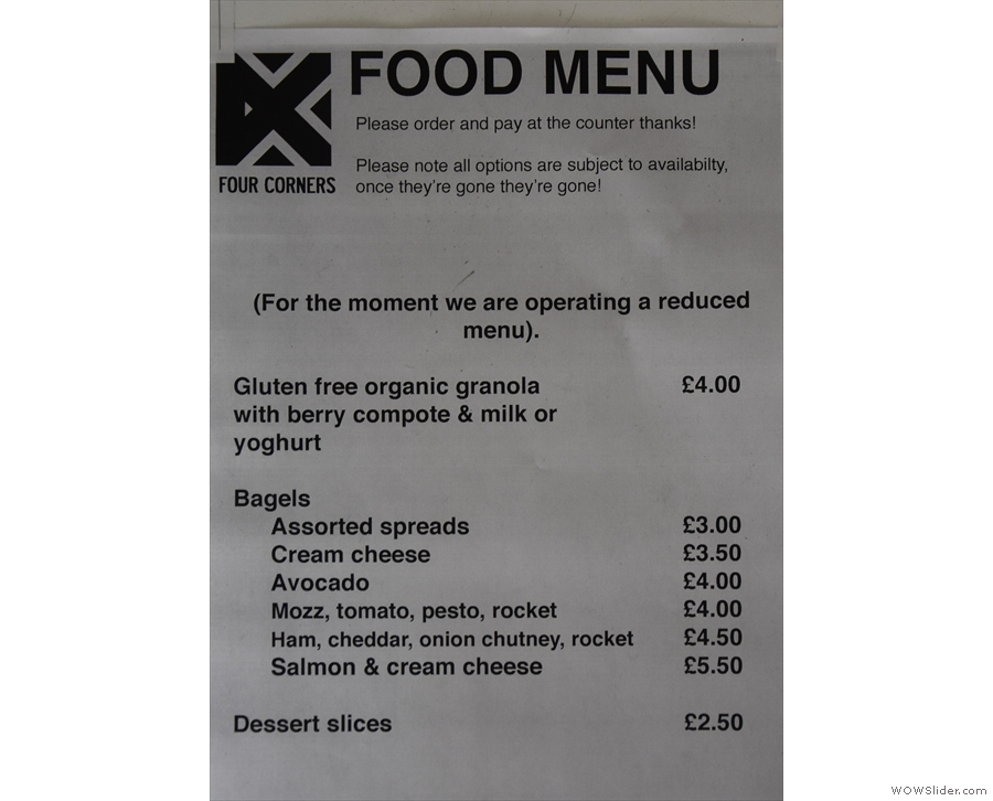... although the food menu has been radically cut down.