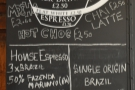 The coffee menu, including the house blend, decaf and single-origin filter.