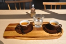 On my return, I enjoyed the espresso flight, sitting in the sun by the window...