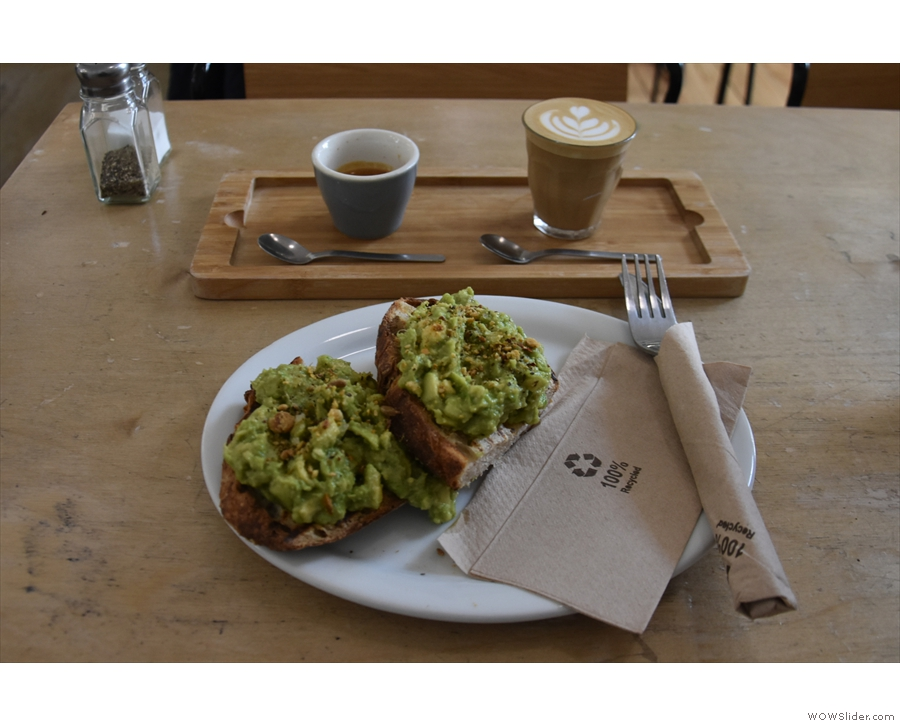 ... from which I selected the avocado toast to go with my coffee.