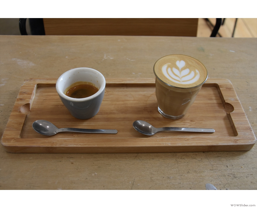I also had this beauitfully presented espresso flight, made with the Roan Blend...
