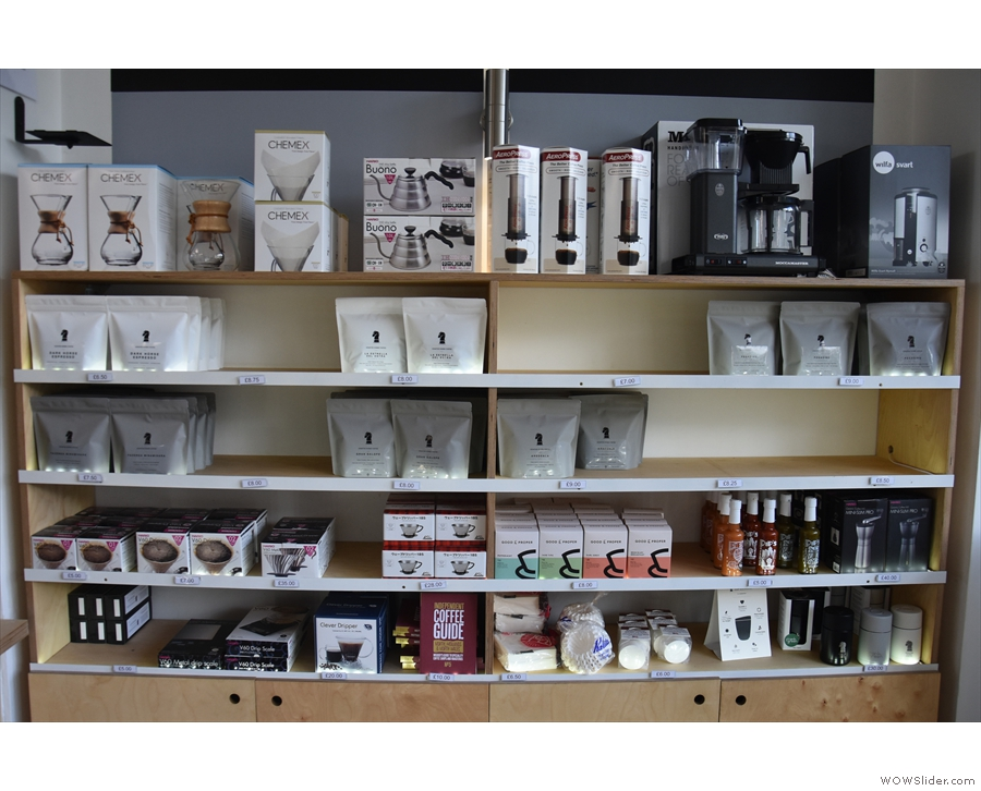 There are all sorts goodies here, from retail bags of coffee to all manner of coffee kit.