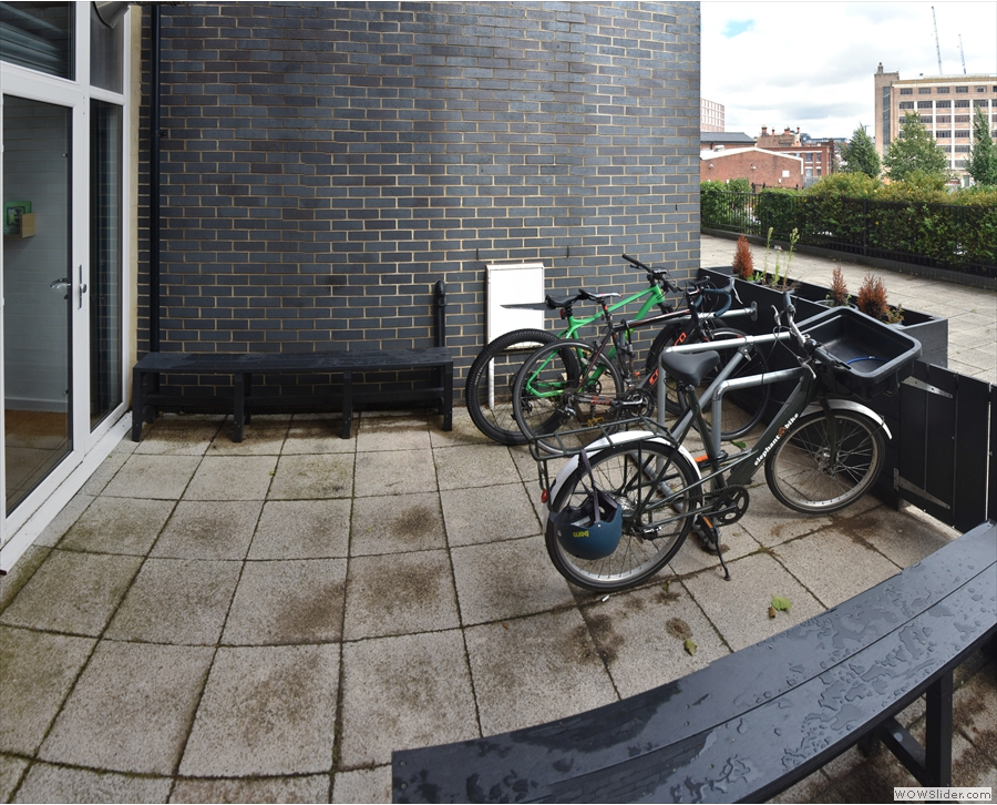 ... and a shorter bench and some cycle racks on the left.