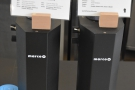 There are a pair of Marco SP9 automated brewers, displaying the day's coffee choices...