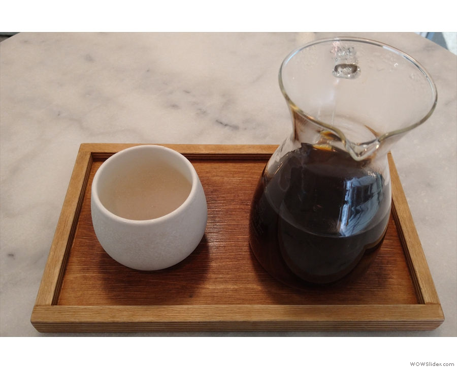 My coffee, served in a carafe, with a handleless cup on the side...