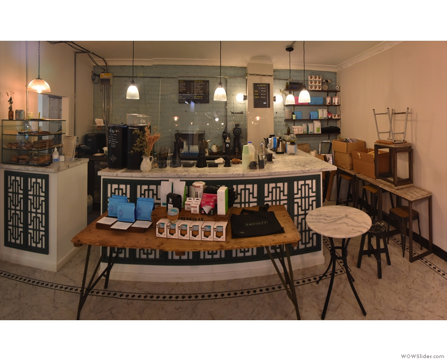 Talking of which, here's the counter, with a retail table in front of it, and, for comparison...