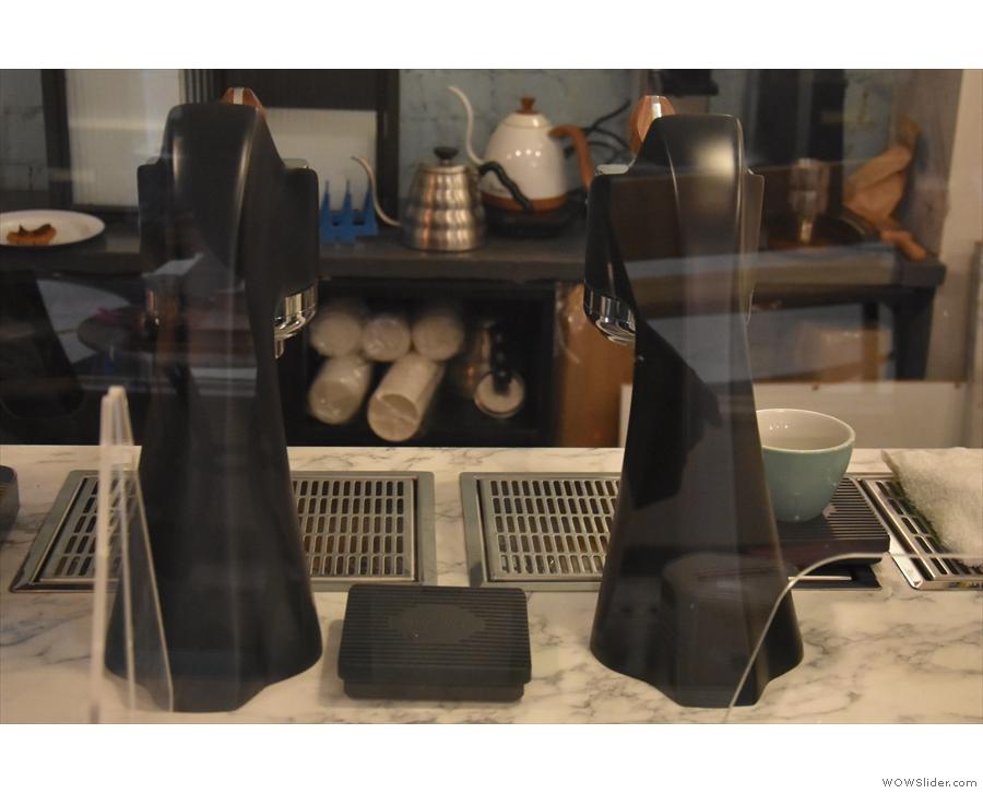 Next come the sleek group heads of the new Modbar espresso system...