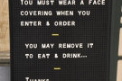 ... which reminds you that you need the wear a mask when ordering.