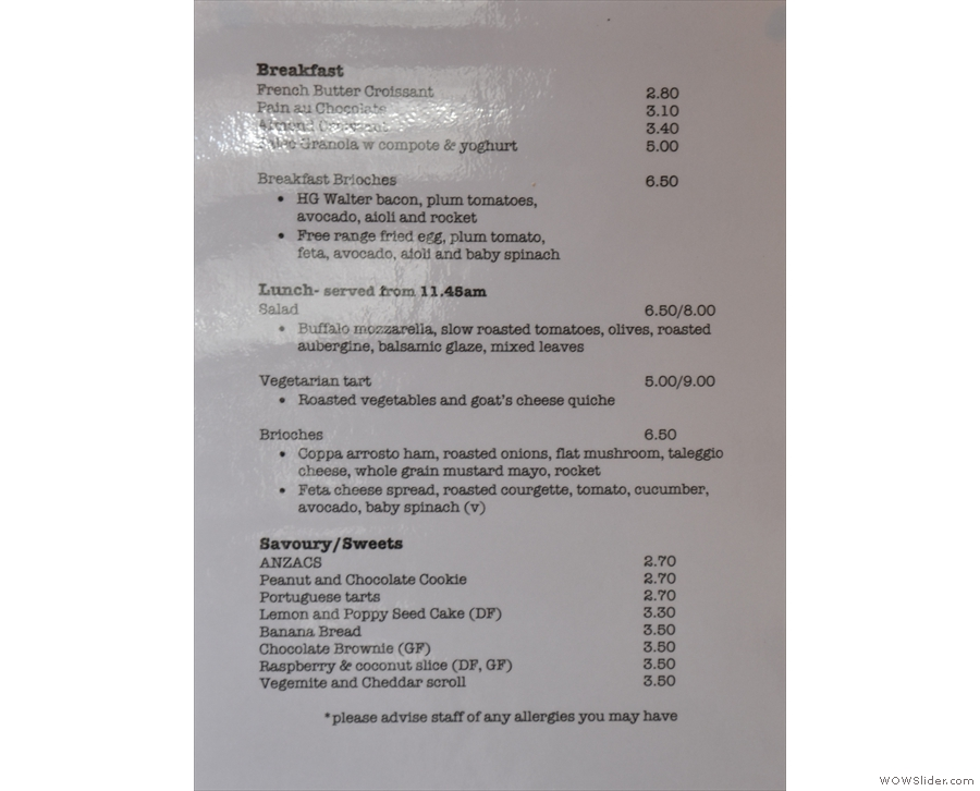 ... while there are laminated food menus dotted around.