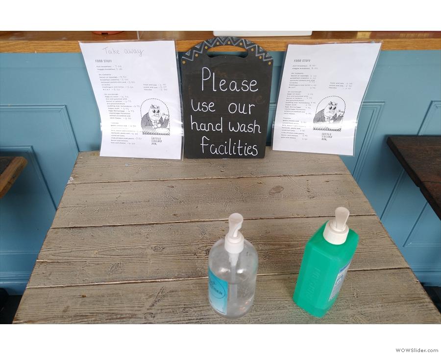 Hand sanitiser is also provided...