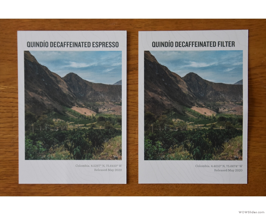 Each comes with an information card, featuring a photograph from the Quindío region...