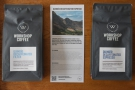 The two decaf options from Workshop Coffee, filter roast (left) and espresso roast (right).