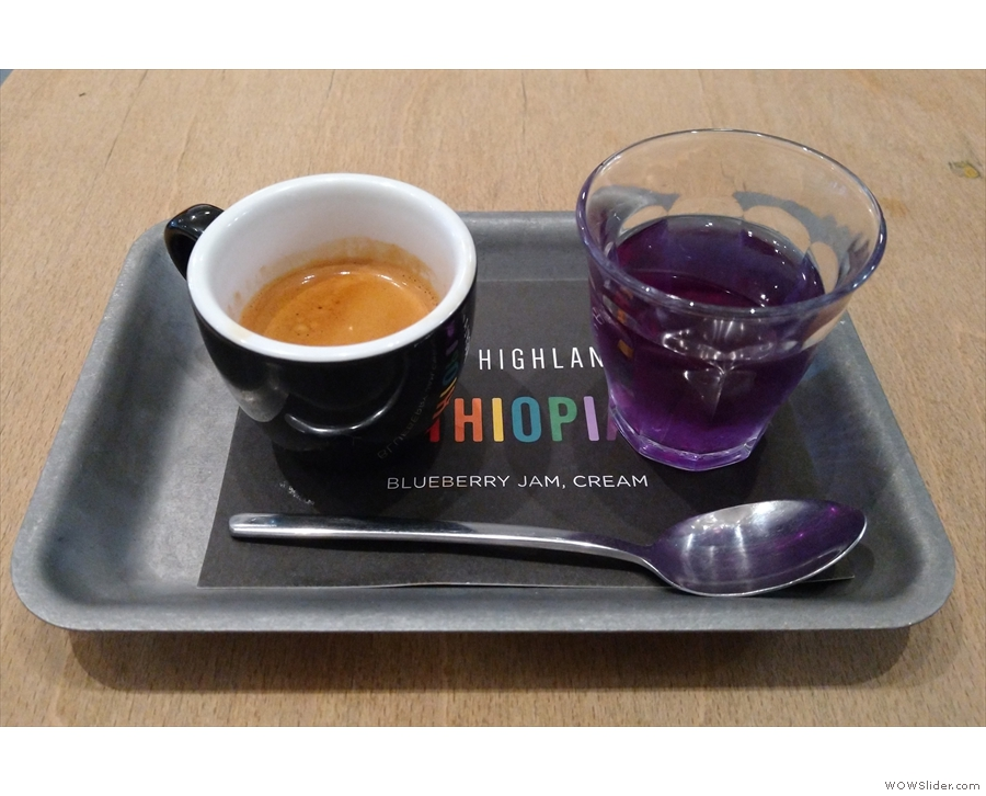 I, however, was having espresso, the single-origin, in fact, served on a little tray...