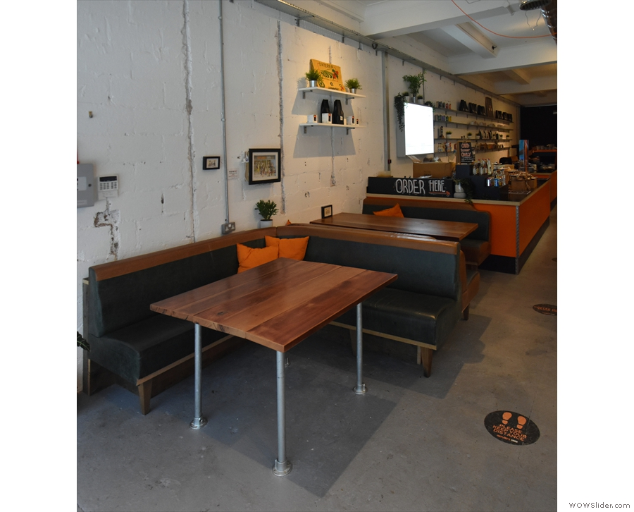The biggest change is this additional seating on the left, which replaces the grab-and-go...