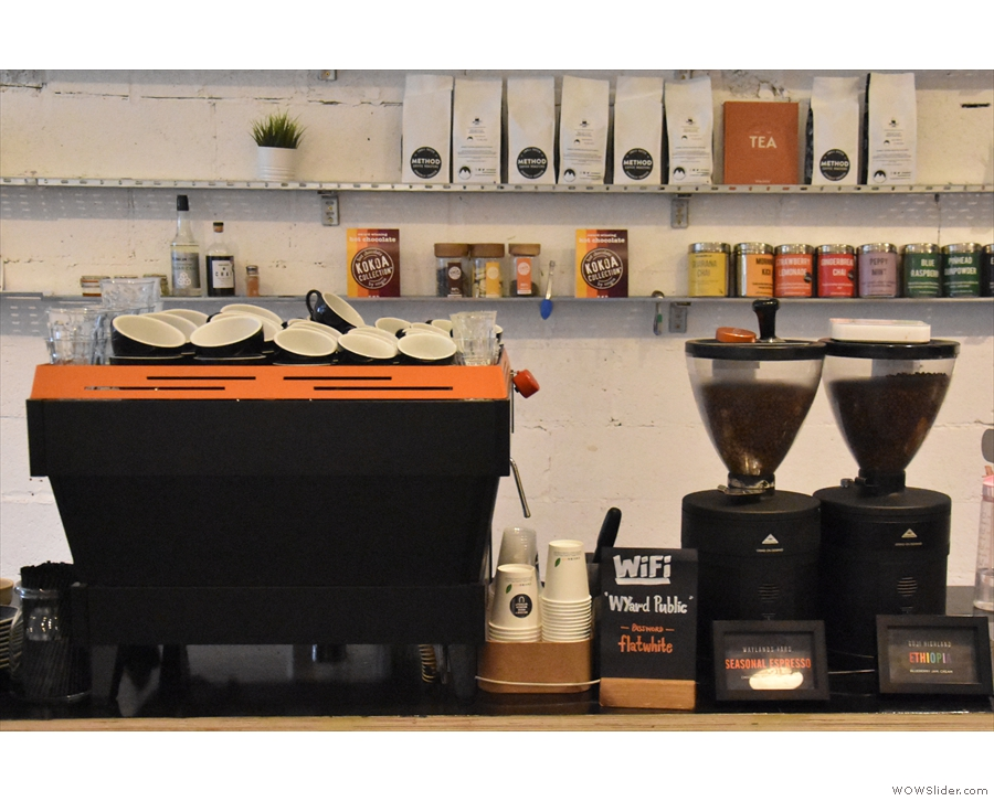 ... starting with the La Marzocco Linea espresso machine and its twin grinders...