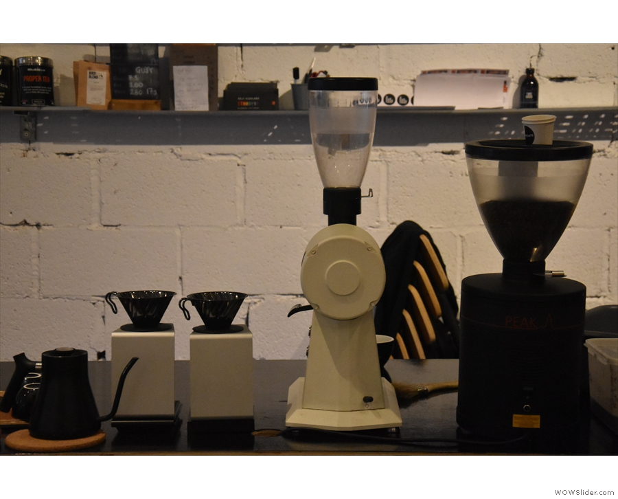 Further down are the V60s and their grinder.