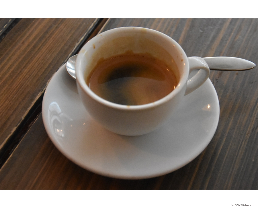 ... choosing the guest espresso, a DR Congo single-origin from Craft House Coffee.