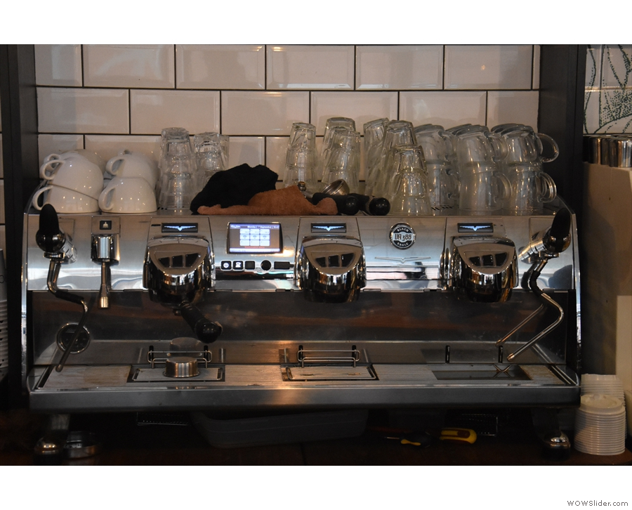 Another familiar feature is the Victoria Arduino Black Eagle espresso machine...