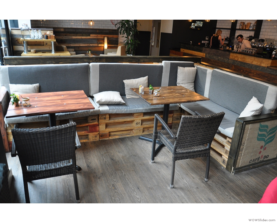 The rest of the seating is much the same. These two tables (from 2016) are still there...
