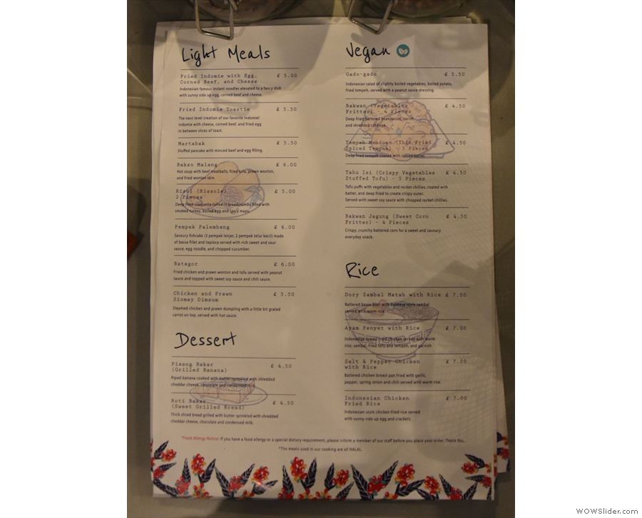 You'll also find the food menu here, which has been reorganised into various sections...