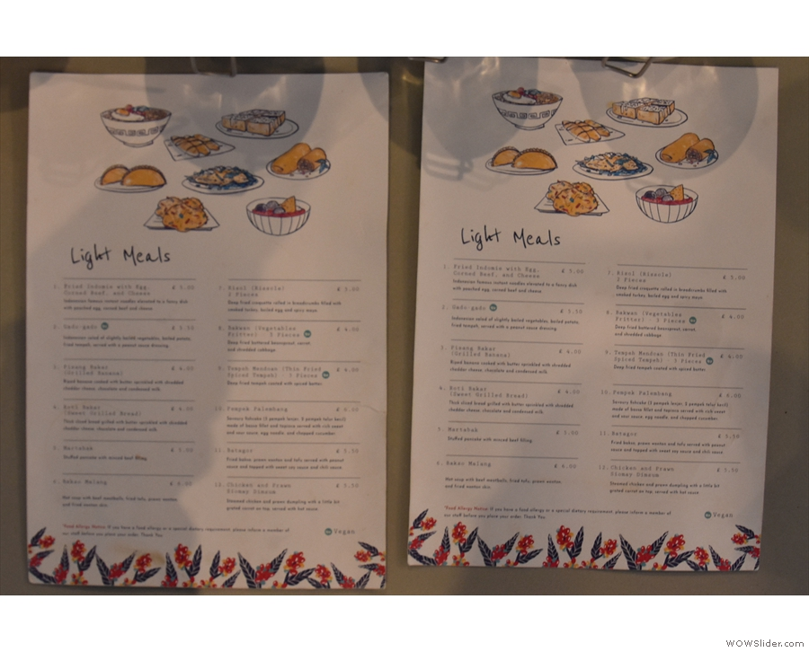 ... although the content is very siimilar to last year's menu, which you can see here.