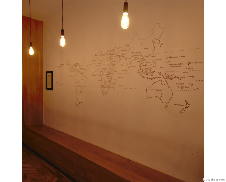 ... while opposite it are this box seat and world map, both original features.