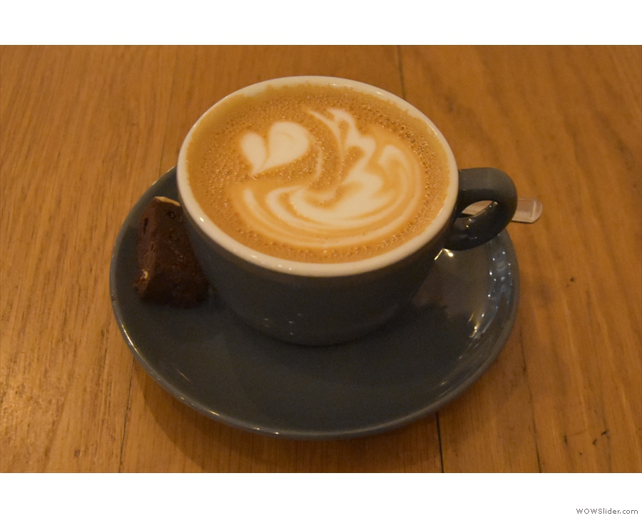 I paired this with a lovely flat white, served in a proper cup and...