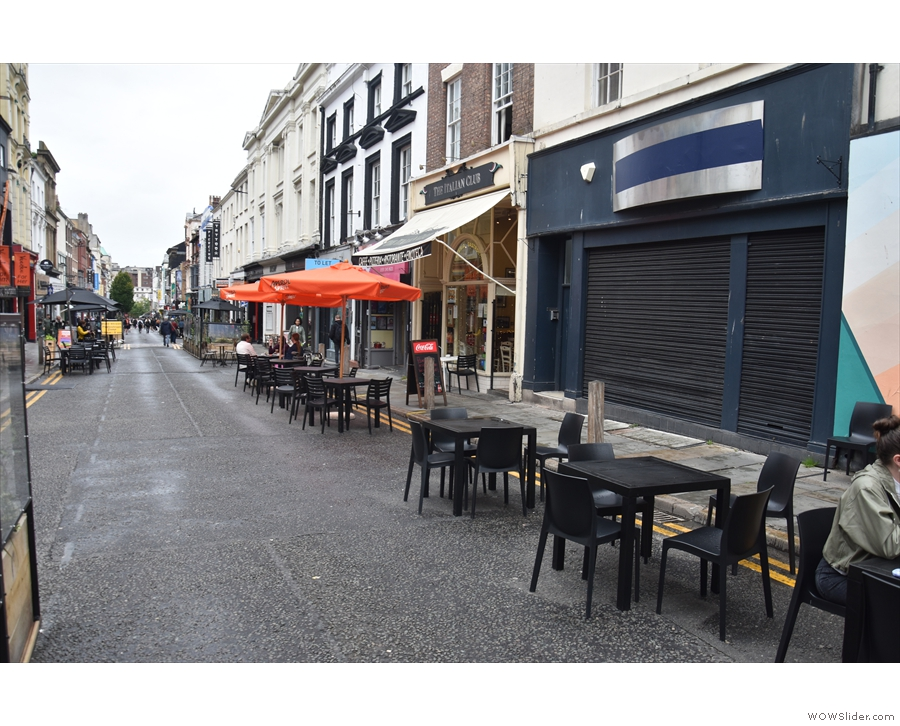 As a result, Bold Street Coffee has put these three four-person tables on the street...