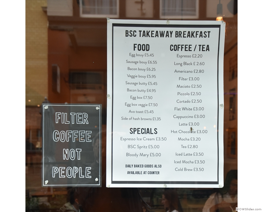 There are details of the takeaway breakfast menu in the window...