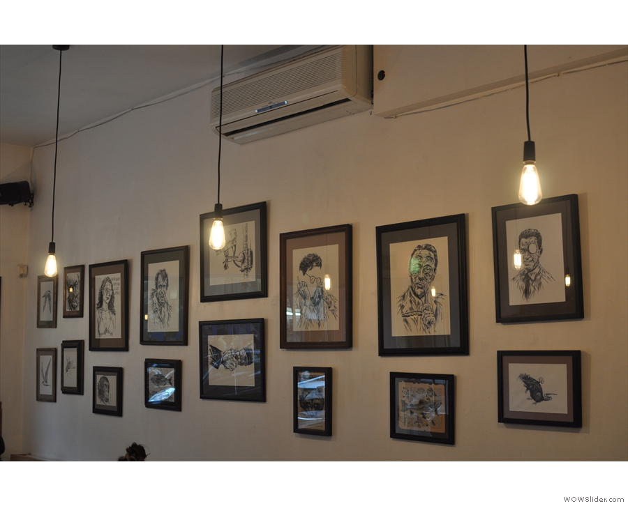 Bold Street Coffee has always displayed artwork. This is by Ben Horton (from 2013).