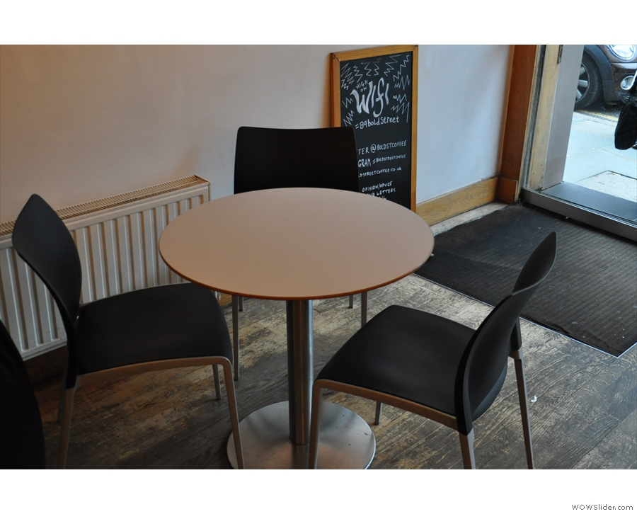 The biggest change is against the right-hand wall where these round tables used to be.