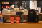 The espresso machine still takes pride of place at the front of the counter...